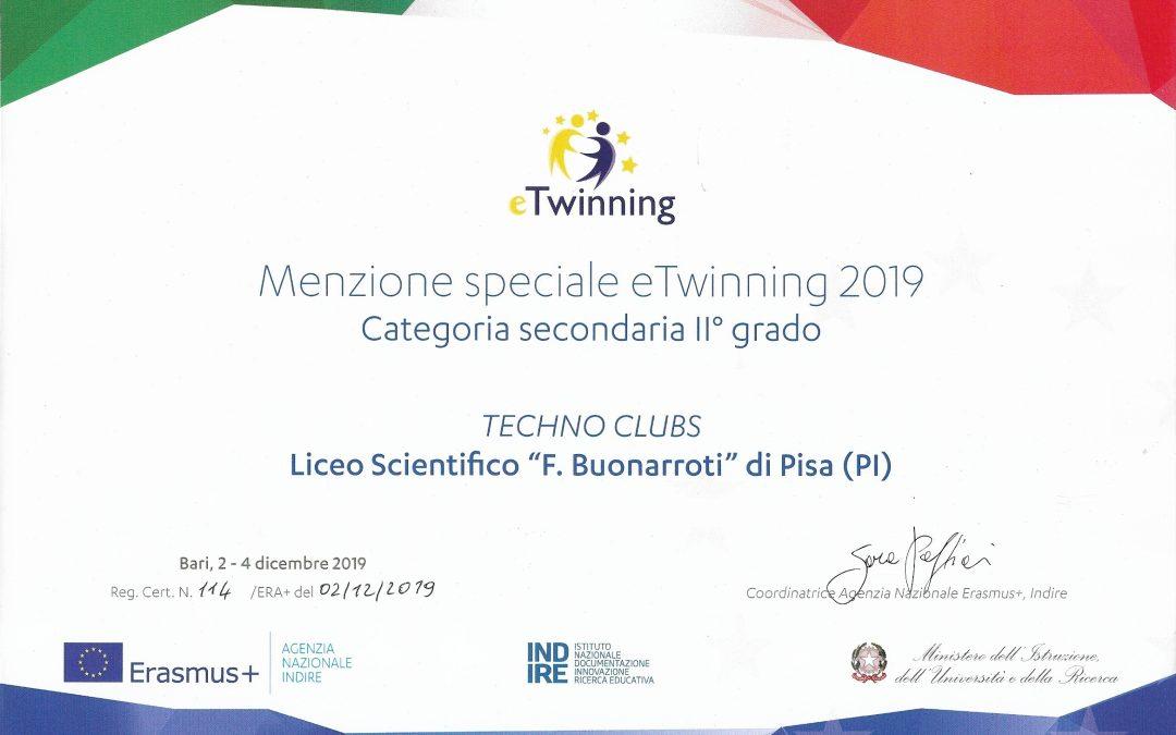 """Menzione speciale per il Liceo """"F. Buonarroti"""" per il progetto TECHNO CLUBS – eTwinning 2019"""